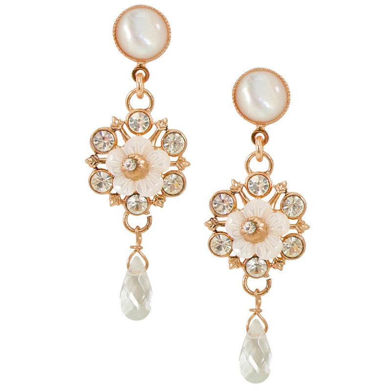 Mother of Pearl Drop Flower Earrings by AMARO