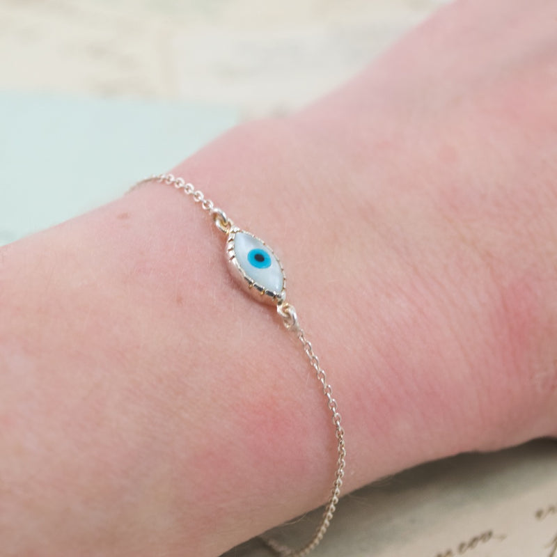 Mother of Pearl Evil Eye SilverBracelet