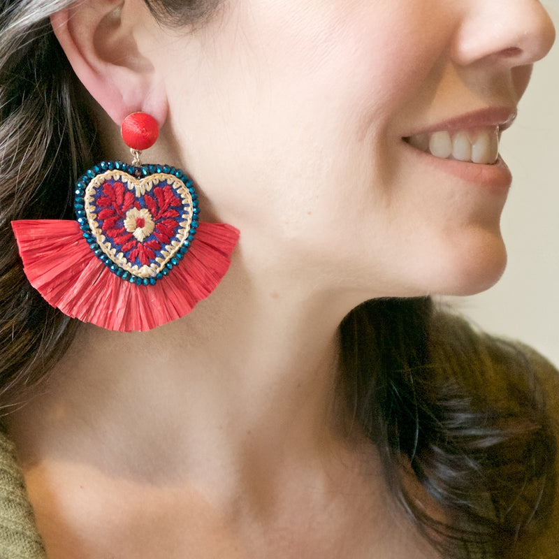 Embroidered Heart with Fan Mexican Earrings - Teal