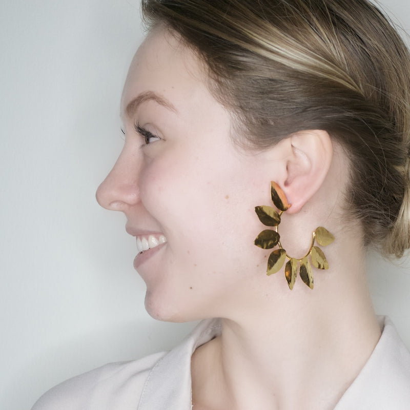 Golden Leaf Hoop Earrings
