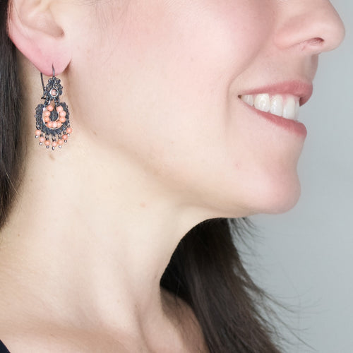 Sterling Silver Frida Kahlo Filigree Earrings with Salmoml Beads
