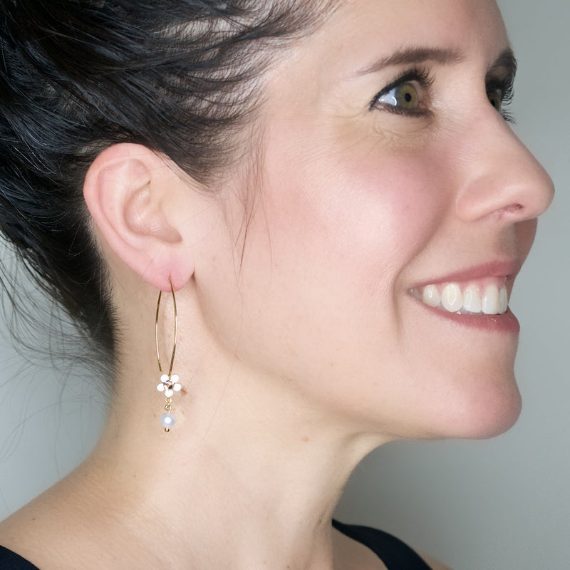 White Flower and Pearl Drop Hook Earrings by Eric et Lydie