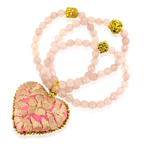 Rose Quartz and Embroidered Heart Stretch Bracelet