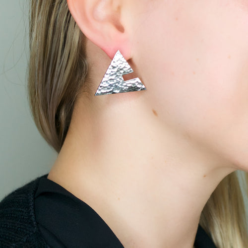 Silver Cut Out Triangle Post Earrings