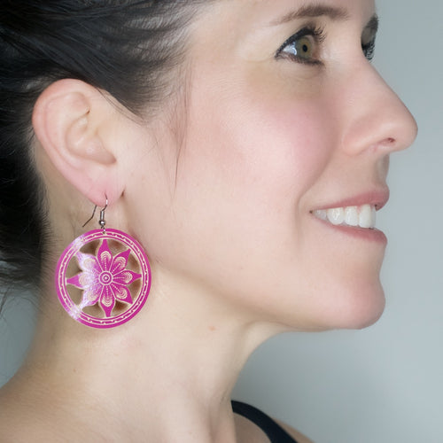 Hand Carved Gourd Drop Earrings - Magenta
