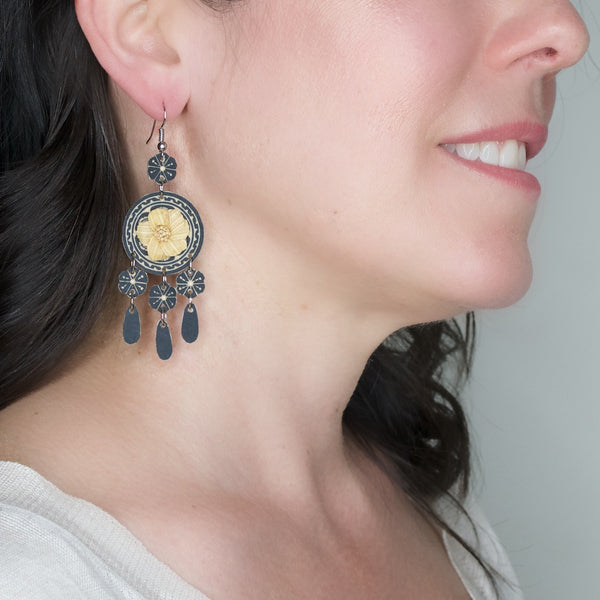 Hand Carved Gourd and Corn Husk Drop Earrings