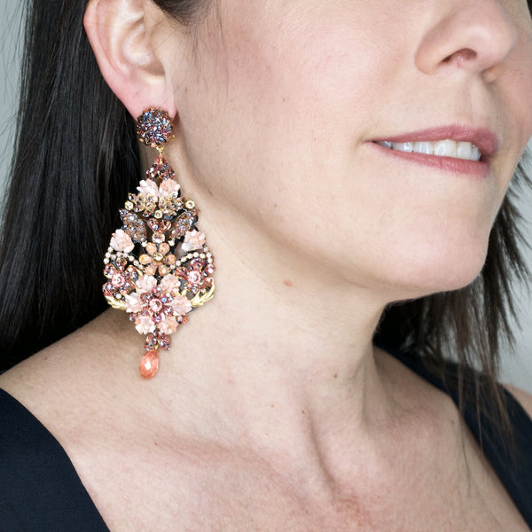 Pink Mother of Pearl and Swarovski Floral Pendant Earrings by DUBLOS