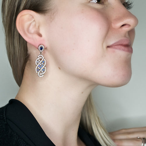 Vintage Inspired Ottoman Turkish Earrings - Sapphires