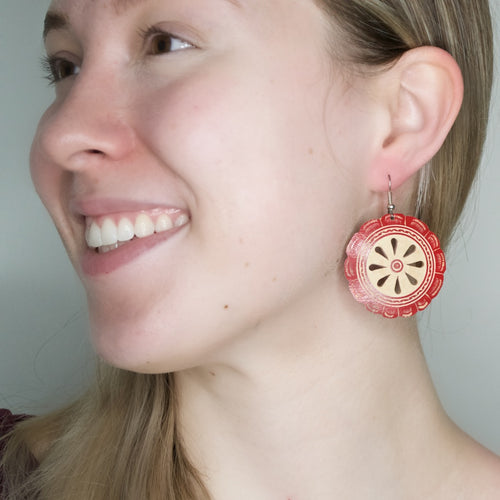 Hand Carved Gourd Drop Earrings - Red