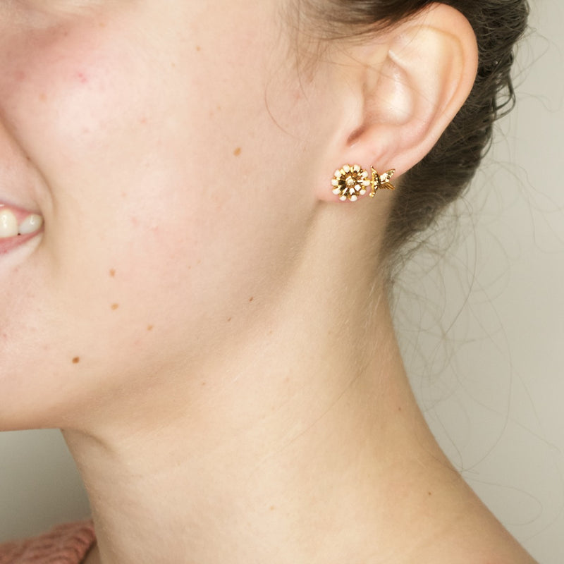 Gold Flower and Sparrow Earrings by Eric et Lydie