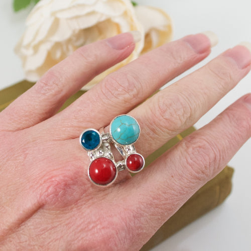 Turquoise and Coral Adjustable Silver Ring from Taxco, Mexico