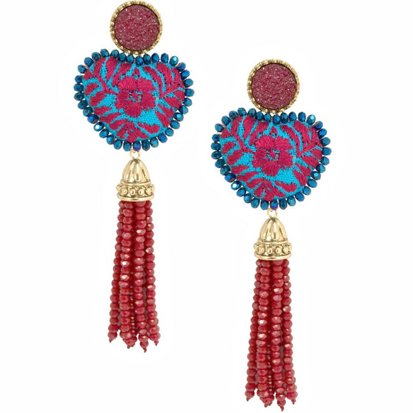 Red and Turquoise Blue Embroidered and Tassel Mexican Earrings