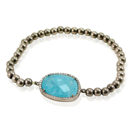 Aqua Stone Beads and Embroidered Heart Stretch Bracelet