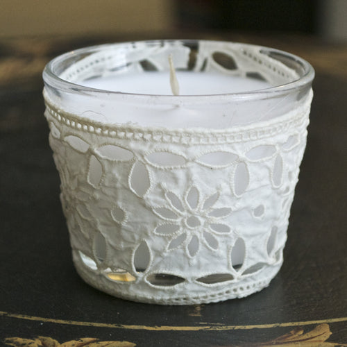 Vintage French Lace Votive