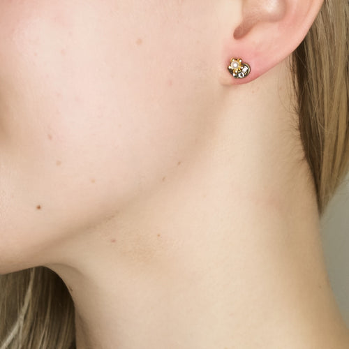 Delightful Crystal and Pearl Post Earrings by Eric et Lydie