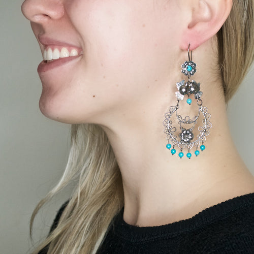 "Frida Kahlo ""Candelabro"" Bird Earrings from Taxco, Mexico"