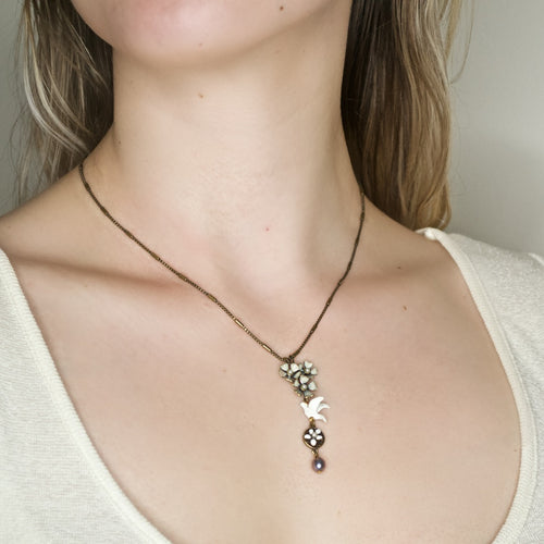 Sweet White Dove Pendant Necklace by Eric et Lydie