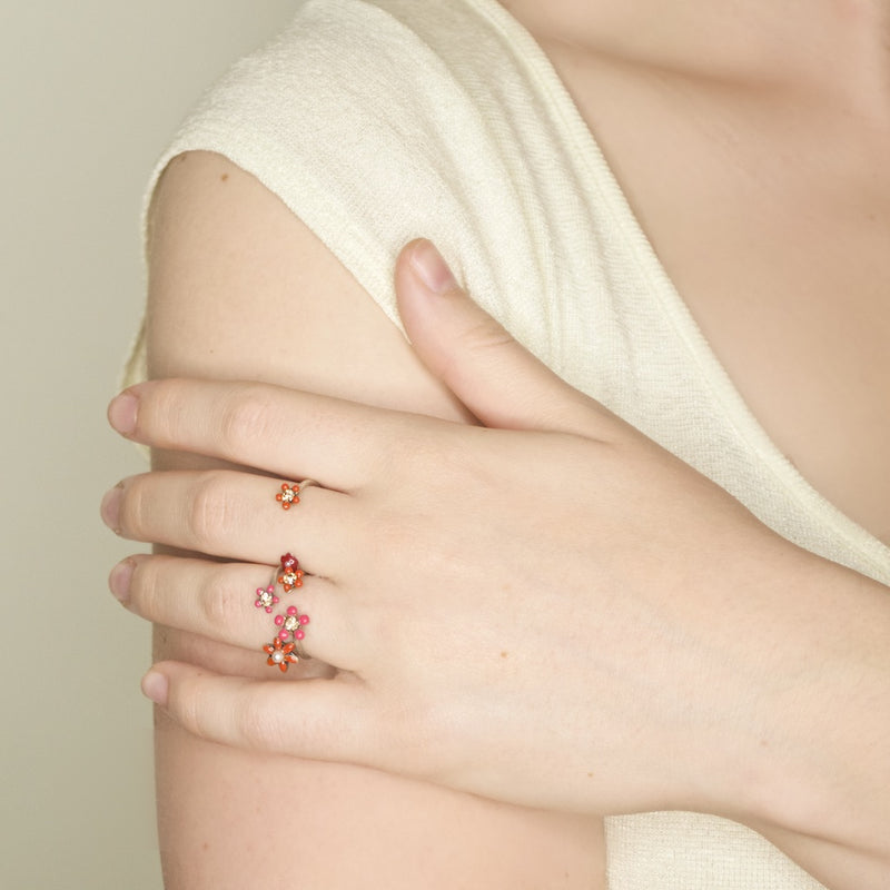 Red and Pink Floral Stackable Ring by Eric et Lydie