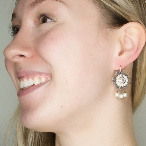 Sterling Filigree with Pearls Drop Earrings