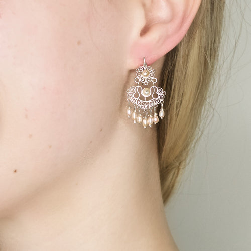 Sterling Filigree with Pink Pearls Drop Earrings