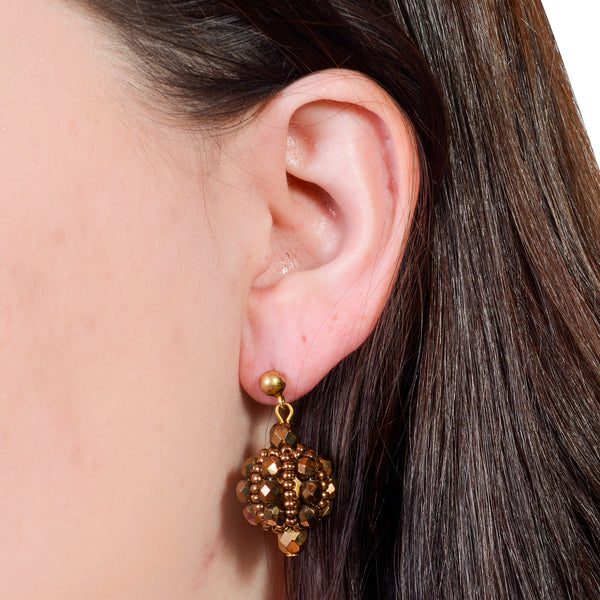 Murano Handblown Glass Bead Earrings - Gold