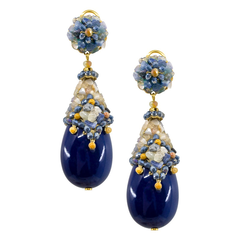 Blue Crystal Flower Drop Earrings by DUBLOS