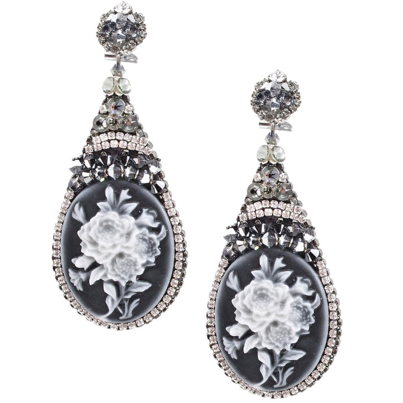 Cameo and Crystal Pendant Earrings by DUBLOS