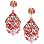 Rosy and Red Swarovski Crystal Drop Earrings by DUBLOS