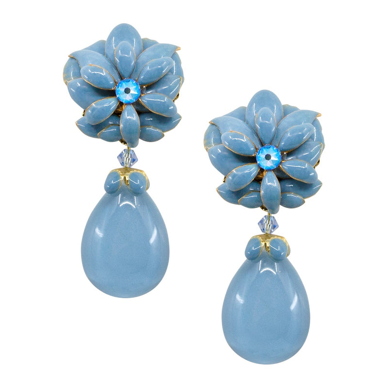 Sky Blue Floral Drop Earrings by DUBLOS