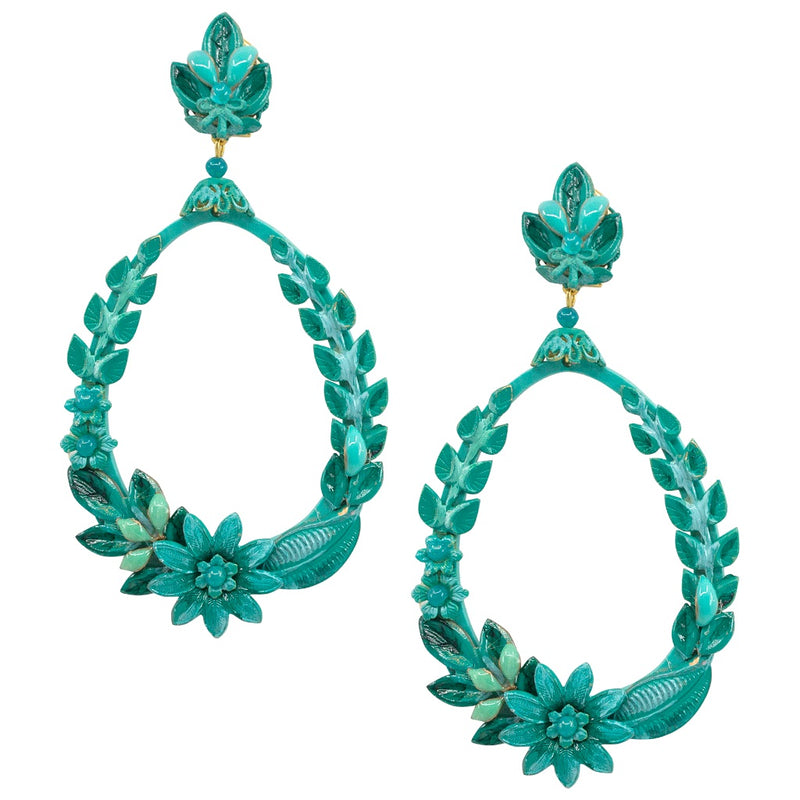 Teal Green Hand Painted Statement Earrings by DUBLOS