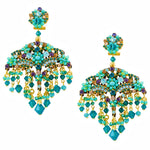 Teal Swarovski Crystal Chandelier Earrings by DUBLOS
