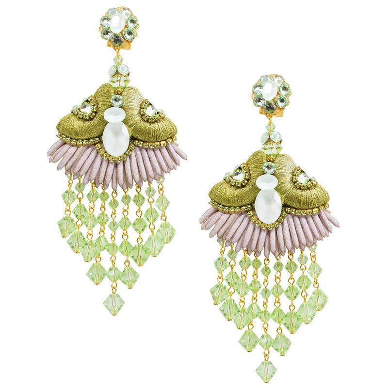 Exquisite Silk Chandelier Pendant Earrings by DUBLOS - Light Green