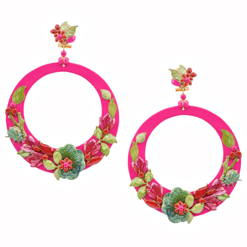 Magenta Pink Hand Painted Statement Earrings by DUBLOS