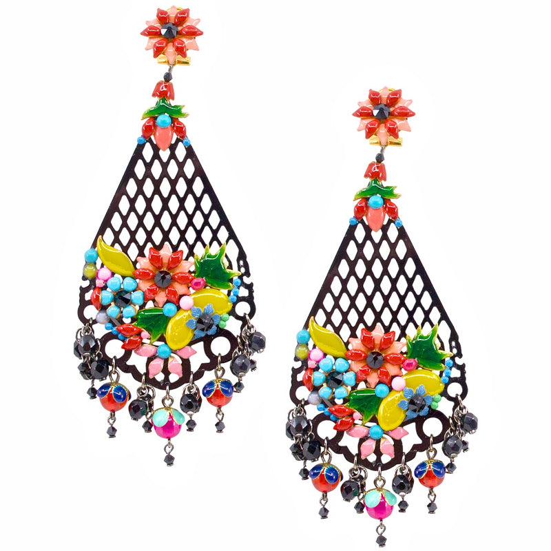 Statement Colorful Flower Earrings by DUBLOS
