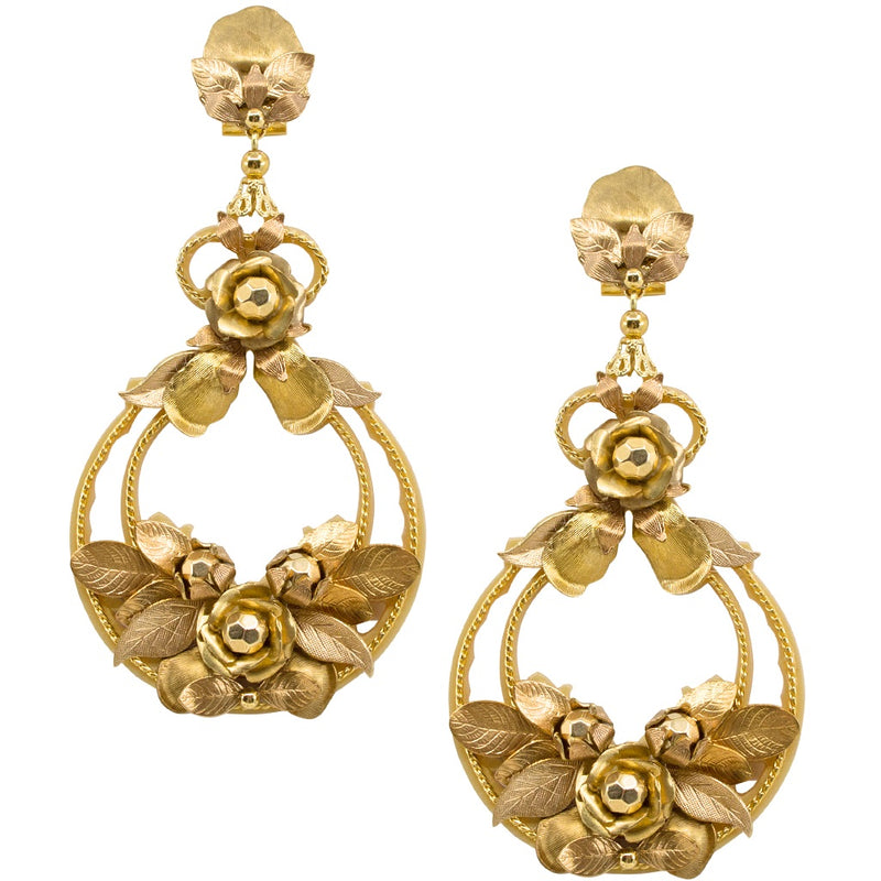 Golden Garden Flower Pendant Earrings by DUBLOS