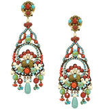 Turquoise and Coral Pendant Earrings by DUBLOS