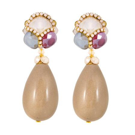 Mother of Pearl Rose Pendant Earrings by DUBLOS