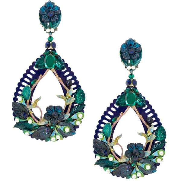 Navy Blue Floral Pendant Earrings by DUBLOS