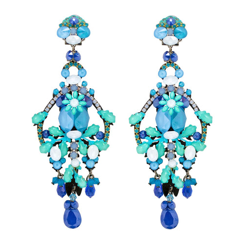 Aqua Iridescent Blue Drop Earrings by DUBLOS