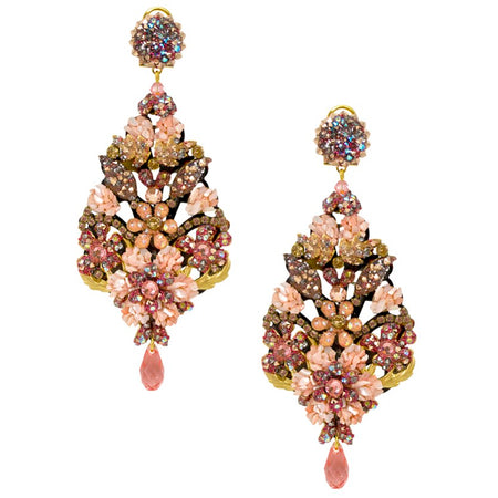 Pink Mineral and Swarovski Crystal Pendant Earrings by DUBLOS