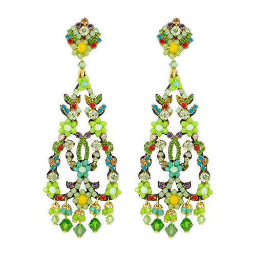 Vibrant Green Multi-Colored Drop Earrings by DUBLOS