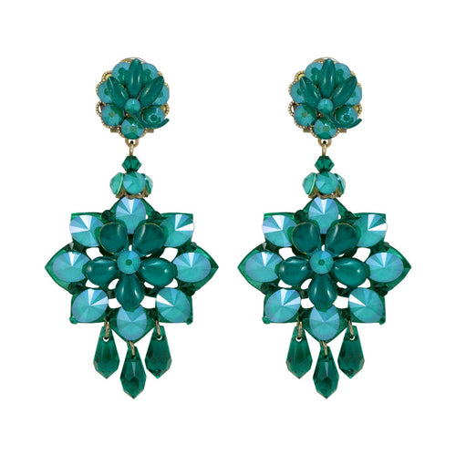 Teal Iridescent Blue Drop Earrings by DUBLOS