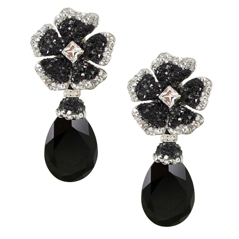 Drop Onyx Crystal Earrings by DUBLOS