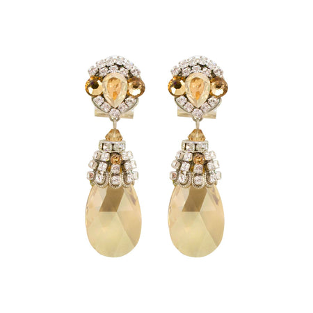 Ivory Cream Flower Drop Earrings by DUBLOS