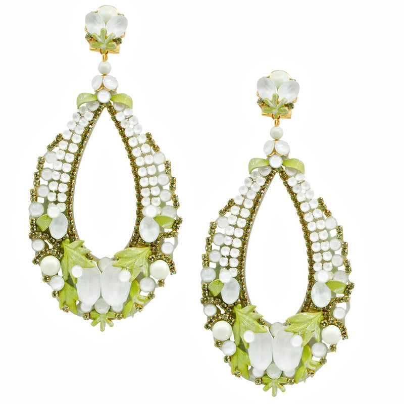 Elegant Garden Green Sparkling Drop Earrings by DUBLOS