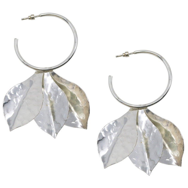 Drop Leaf Silver Hoop Earrings