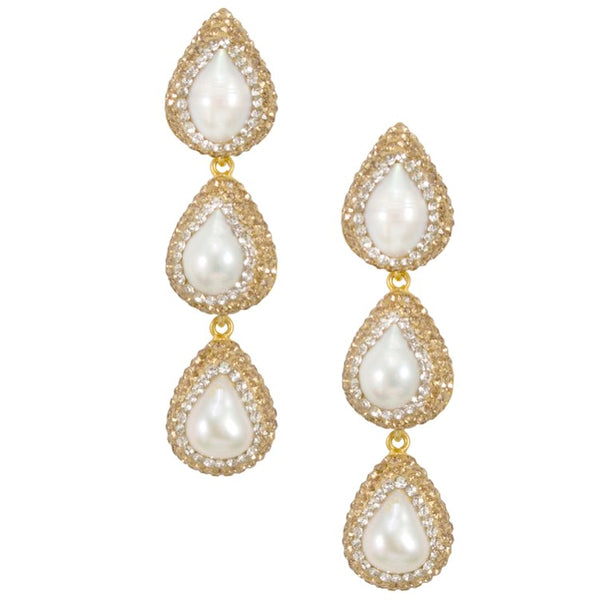 Tiered Pearl and Crystal Earrings