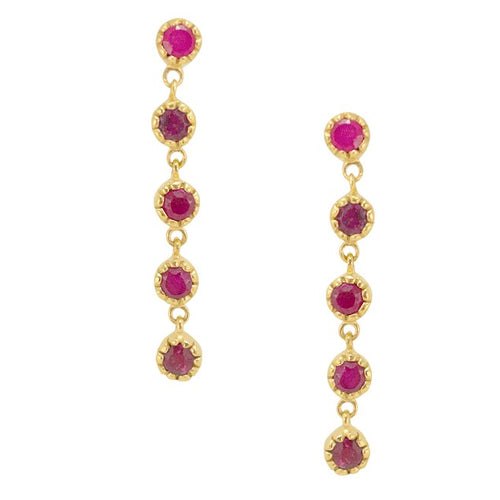 Drop Ruby Earrings
