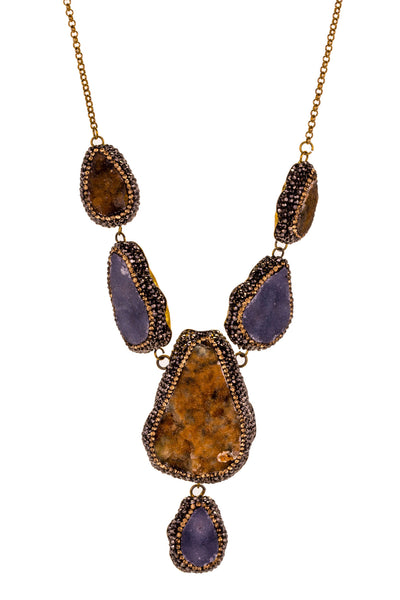 Druzy Quartz Drop Necklace