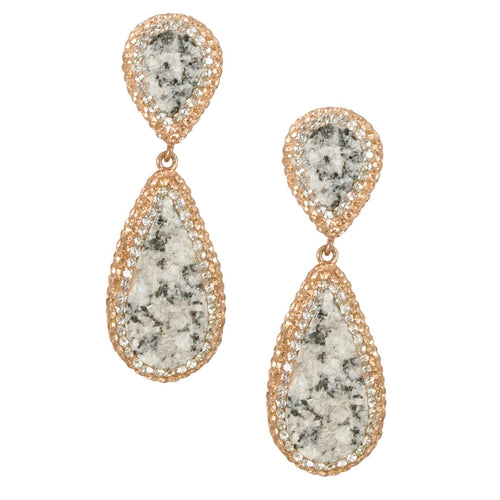 Speckled Druzy Quartz Tiered Earrings